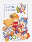broderie au point de croix MVS BIRTH CELEBRATIONS sur toile Etamine 10.5 fils - Lanarte