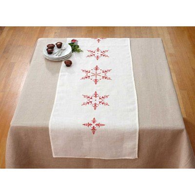 broderie traditionnelle Chemin de table grands flocons- Spécial Noël - DMC