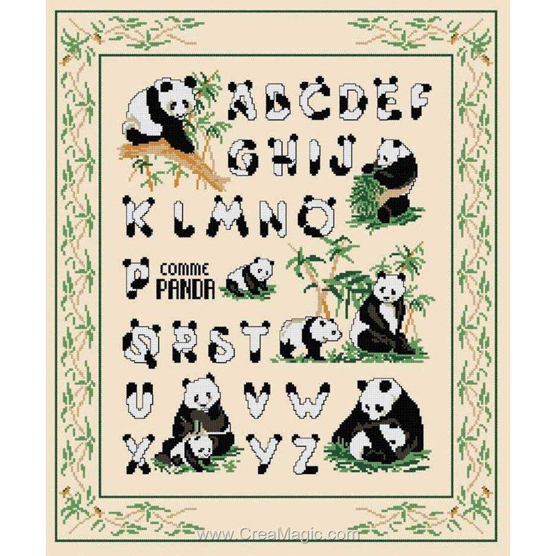 Point de croix à broder Abécédaire des Pandas kit broderie de PLANÈTE MAUVE PM255