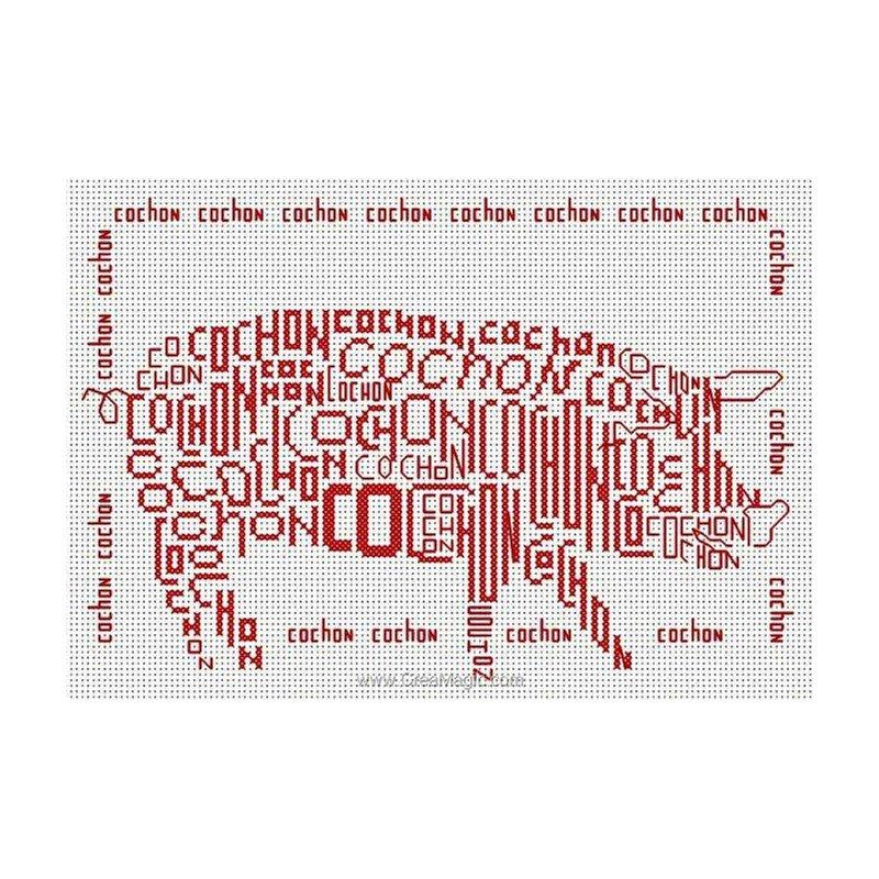 Broderie au point de croix cochon lettre en kit broderie - Grille point de croix lettre ...