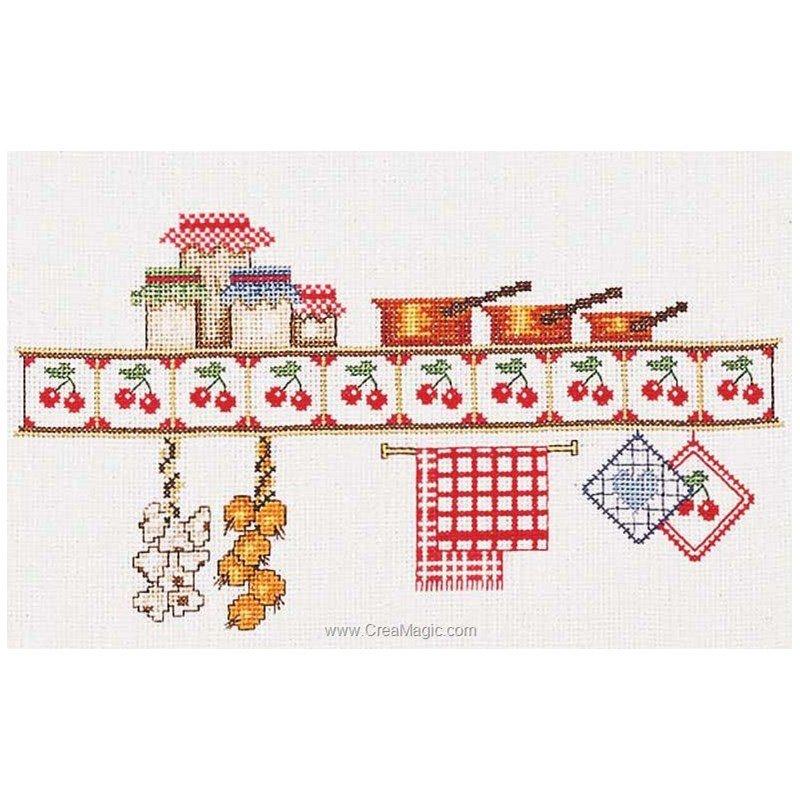 Point de croix broder l 39 tag re de cuisine sur toile - Point de croix cuisine ...