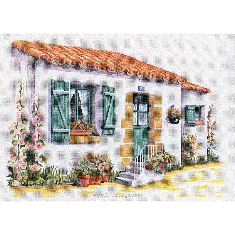 broderie au point de croix la maison de l 39 le sur toile. Black Bedroom Furniture Sets. Home Design Ideas