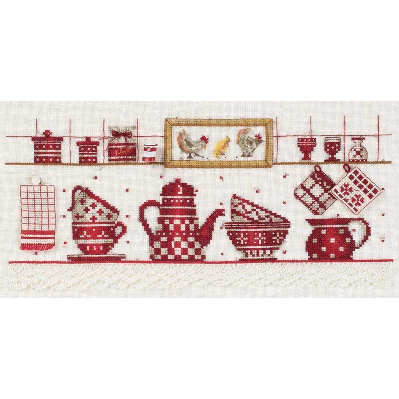 Point de croix dmc broder la vaisselle rouge kit - Point de croix cuisine ...