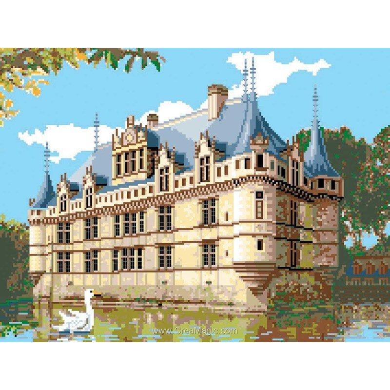 Point de croix à broder Le Château d'Azay le Rideau kit broderie de Luc Création PC7-24