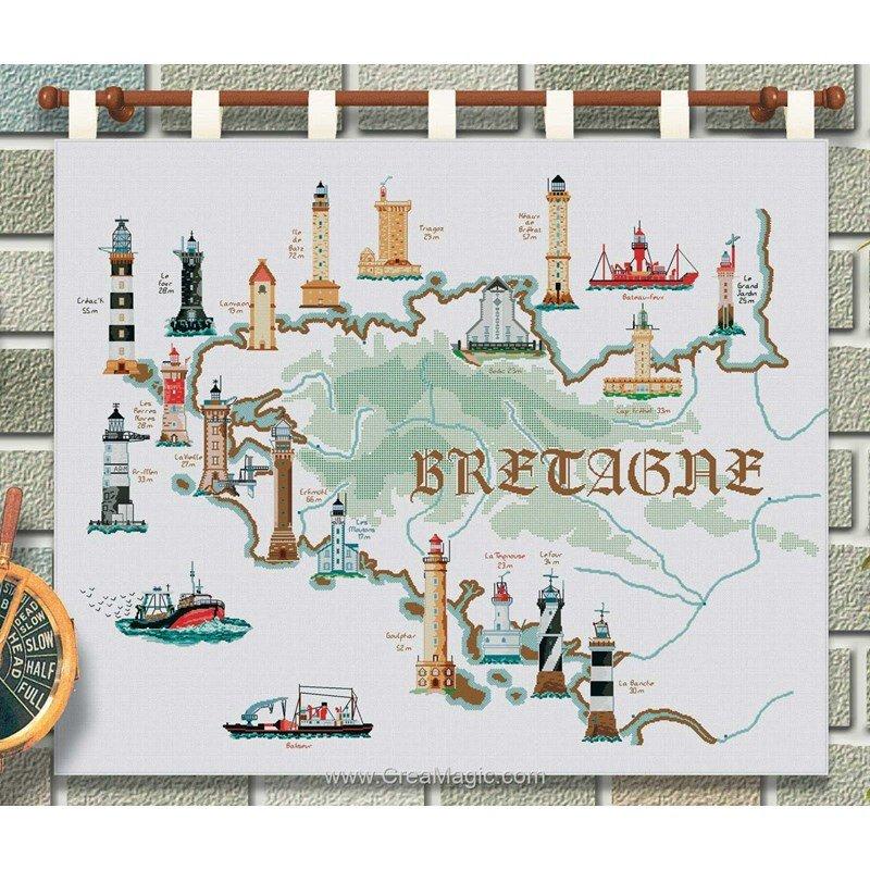 Point de croix à broder PHARES DE BRETAGNE kit broderie de Luc Création PHARE01