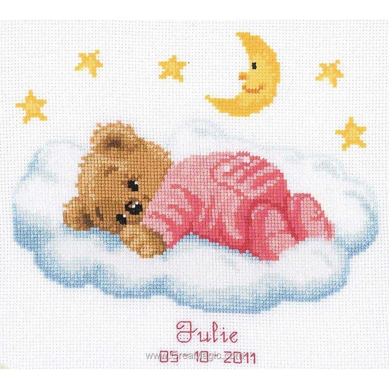 Point de croix broder tableau de naissance ourson dans - Tableau de naissance point de croix gratuit ...