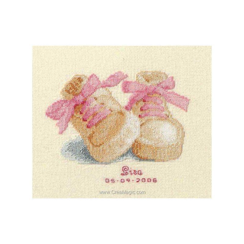 Broderie au point de croix tableau de naissance petits for Tableau fille ou garcon