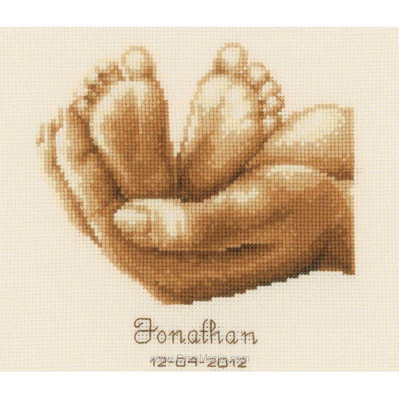 Point de croix broder tableau de naissance petits pieds - Tableau de naissance point de croix gratuit ...