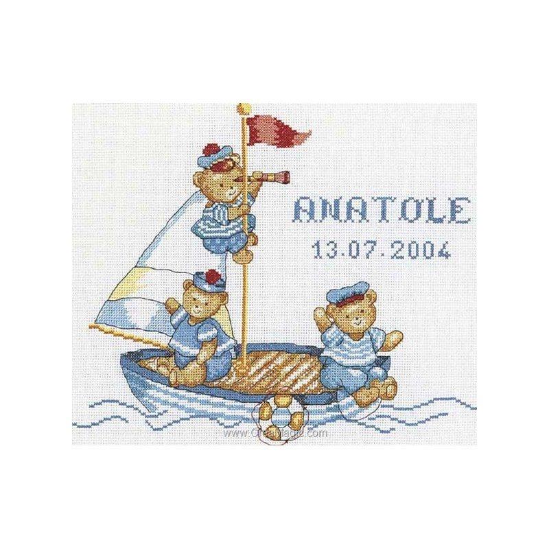 Broderie au point de croix tableau naissance ours marin - Tableau de naissance point de croix gratuit ...
