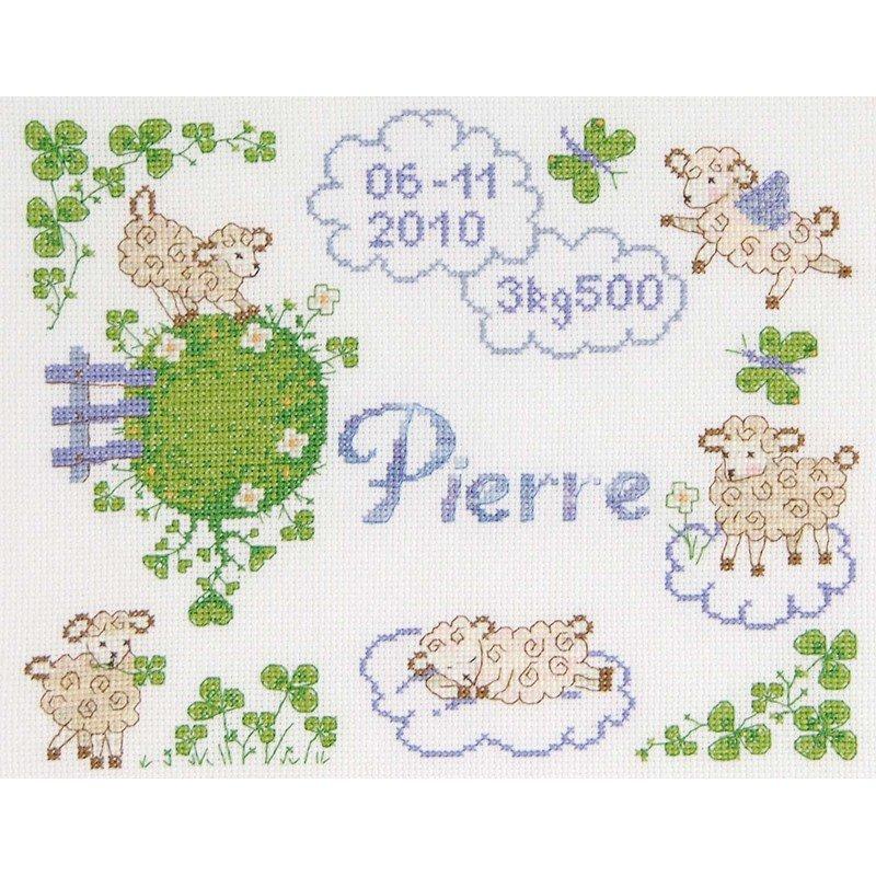 Point de croix DMC à broder Tableau prénom petits moutons ...