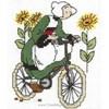 broderie au point de croix Bécassine fait du vélo  sur toile Aida - Princesse - Princesse