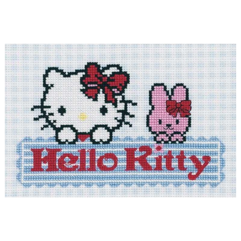 grille au point croix DMC DIAGRAMME HELLO KITTY - Kitty Impressions bleues BL674/63 de DMC