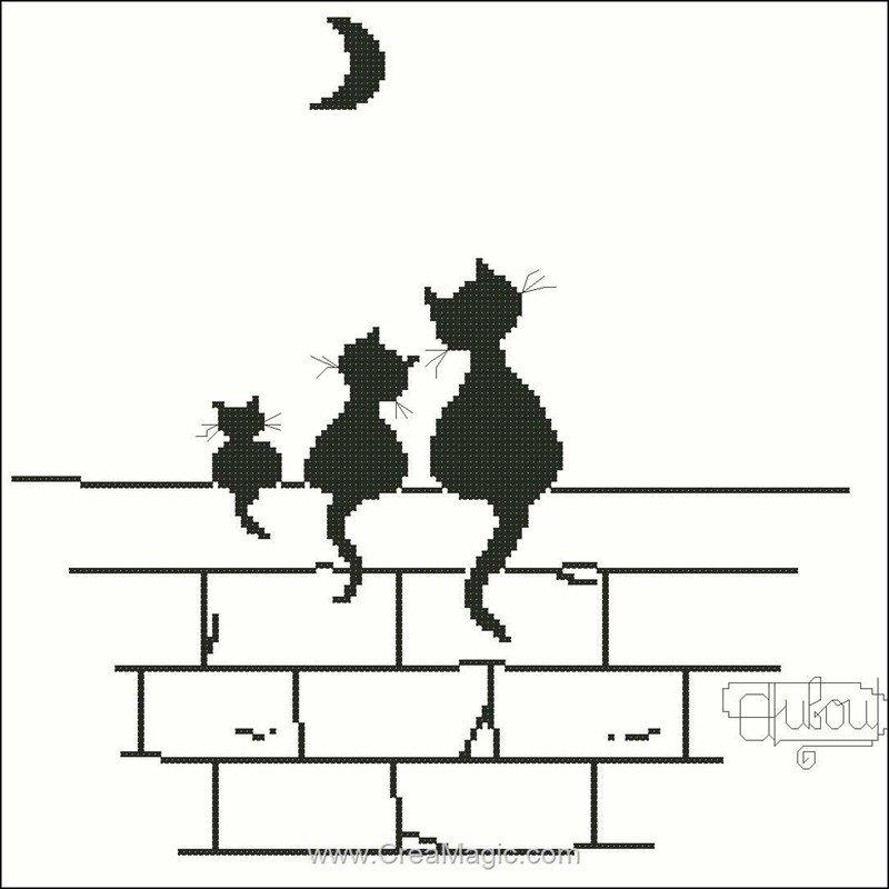 grille au point croix Diagramme Trois chats et lune PDR-FICHE-132 de Points de Repère