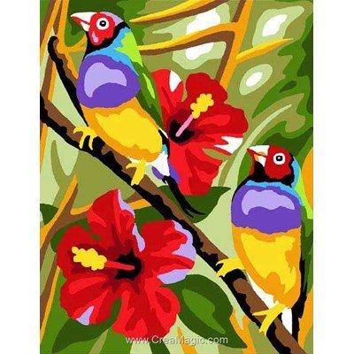 Kit canevas Oiseaux et fleurs exotiques - Margot