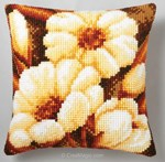 Coussin fleurs blanches - Vervaco