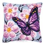 Coussin Papillon violet - Vervaco