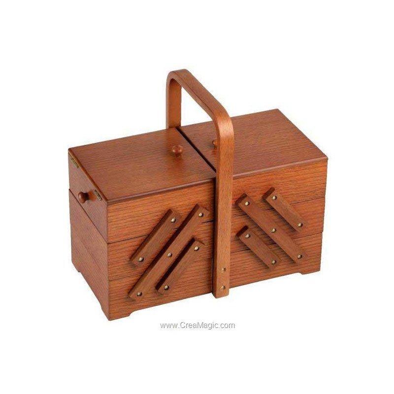 Travailleuse en bois chene fonce 612 515 prym for Travailleuse couture bois