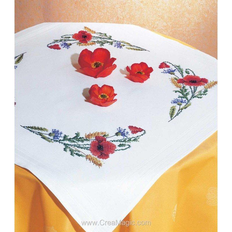 Kit nappe brin de coquelicots au point de croix imprimé - Royal Paris 6301-2716