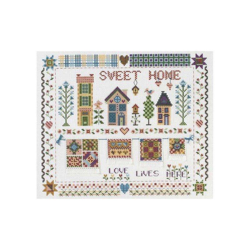 Kit dmc broder patch maison sweet home de bk620 - Maison point de croix ...