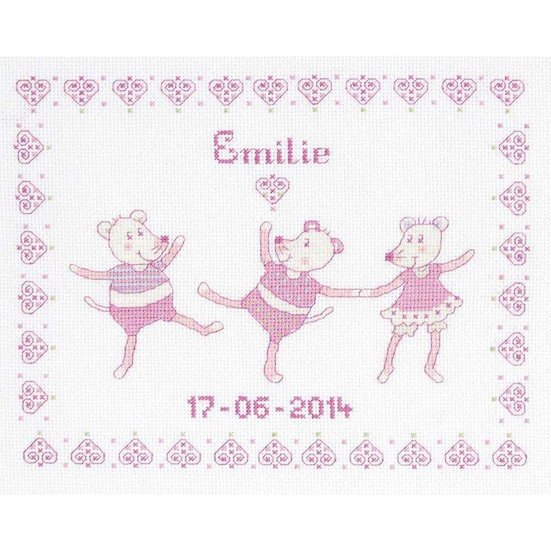 Broderie point de croix bébé DMC souris rose pour fille BK1421