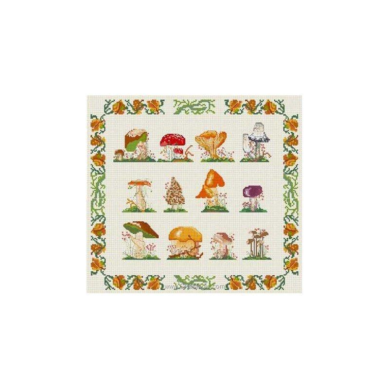 Broderie au point de croix les champignons chez anagram - Cuisine et croix roussien ...