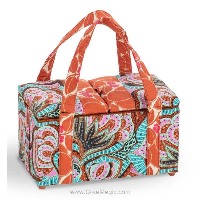 Boite couture tissu deco avec deux poign es 224 1200 for Boite de rangement couture