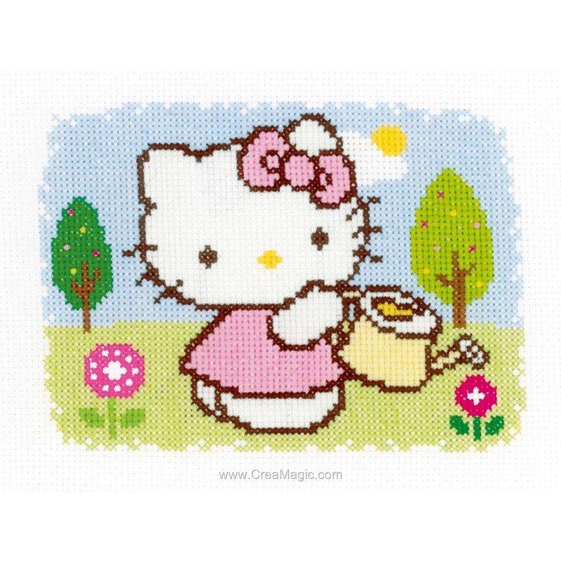 Kit broderie hello kitty au printemps chez vervaco - Modele hello kitty ...