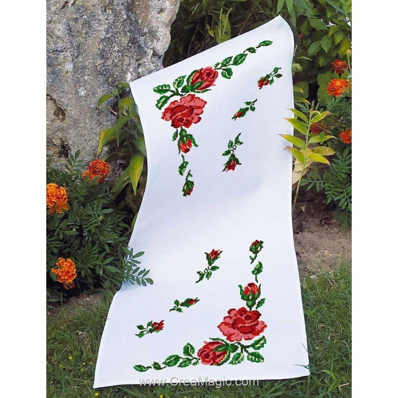 kit chemin de table luc cr ation broder ourl roses ct 05. Black Bedroom Furniture Sets. Home Design Ideas
