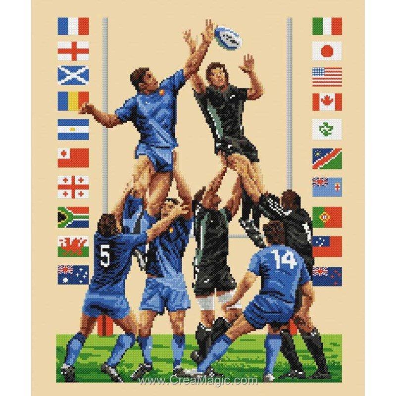 La broderie le rugby la m l e rfa1002 rafael angelot for Maison du canevas point de croix