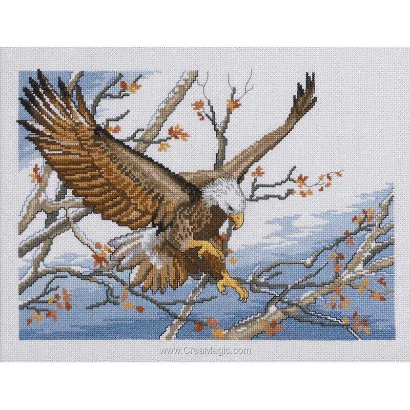 Broderie point de croix eagle sur toile lin chez Permin