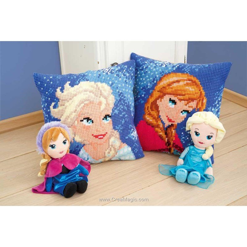 coussin vervaco anna reine des neiges disney au point de. Black Bedroom Furniture Sets. Home Design Ideas
