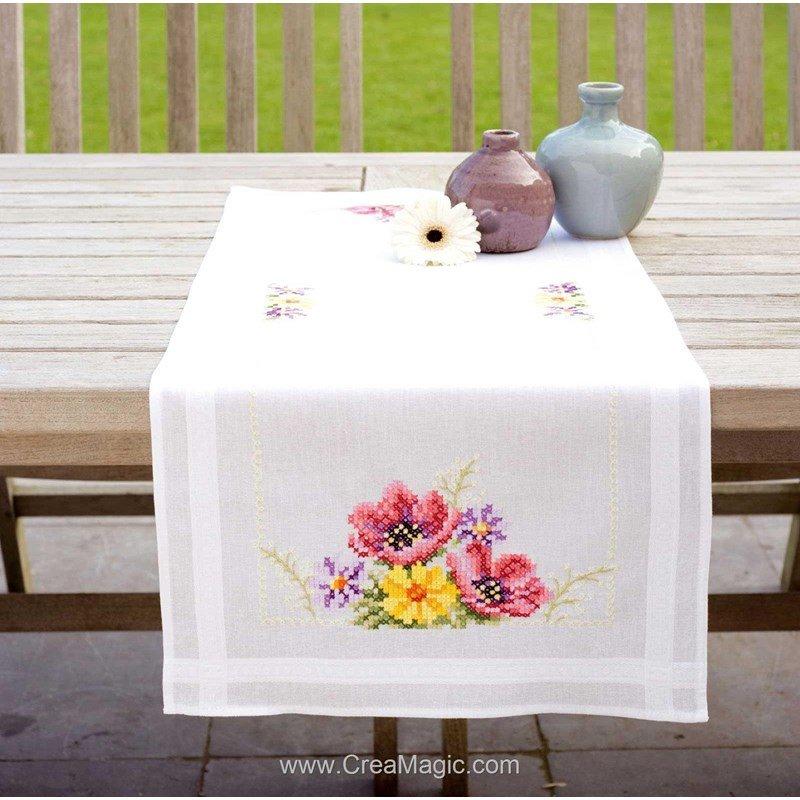 Chemin de table en broderie traditionnelle an mones rose et jaune vervaco - Chemin de table lavande ...