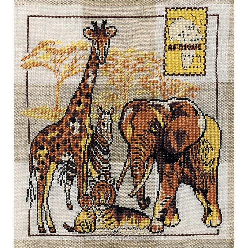 Kit point de croix animaux d'afrique chez Marie Coeur