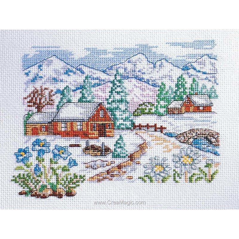 Marie Coeur kit point croix la montagne en hiver
