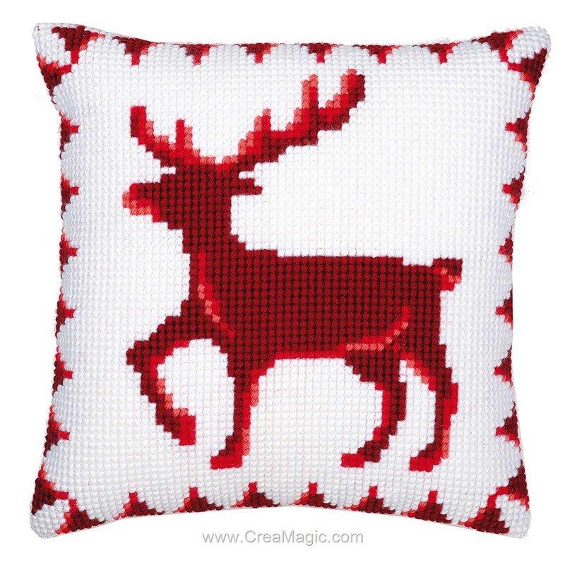 coussin rennes rouge au point de croix vervaco. Black Bedroom Furniture Sets. Home Design Ideas