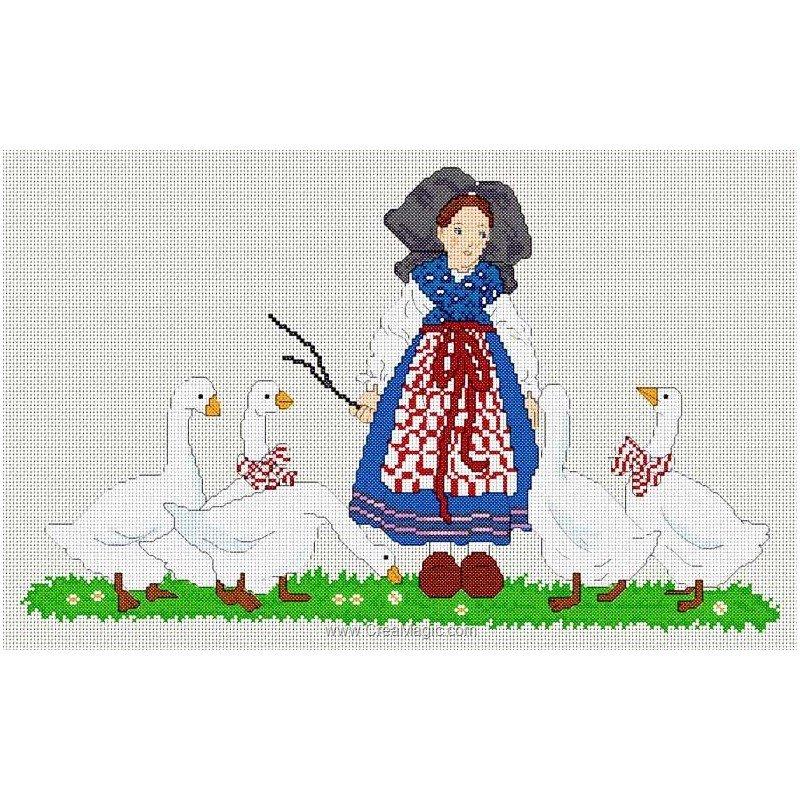 Fiche de broderie au point de croix la gardienne d'oie - Anagram