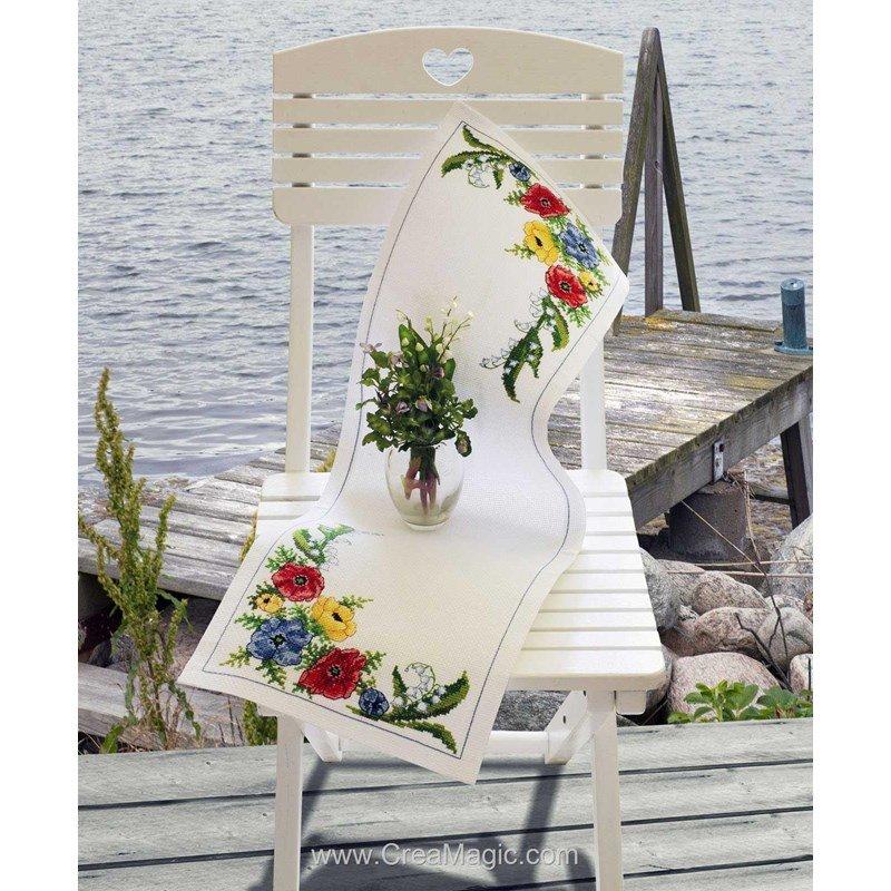 chemin de table en kit anemones runner broder anchor. Black Bedroom Furniture Sets. Home Design Ideas