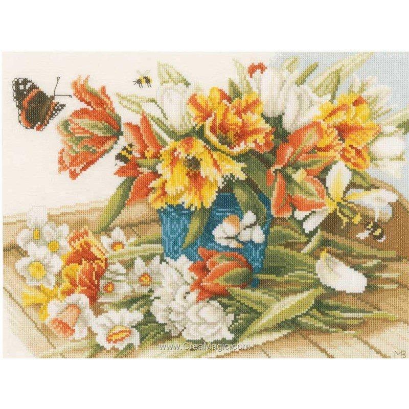 broderie lanarte jonquilles tulipes pn 0154325. Black Bedroom Furniture Sets. Home Design Ideas