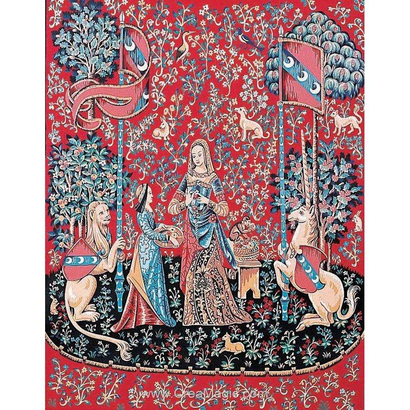 Margot canevas tapisserie dame la licorne l 39 odorat - Tapisserie dame a la licorne ...