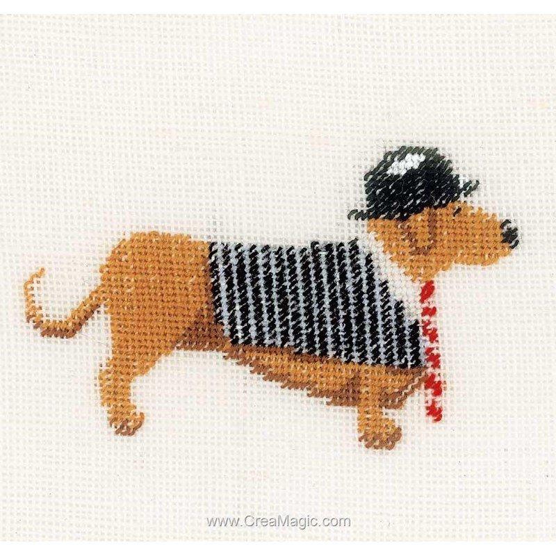 Broderie chien avec un chapeau melon sur lin lanarte - Tableau chapeau melon pomme verte ...