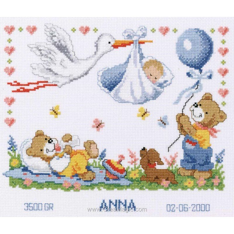 Point De Croix Pour Bebe La Cigogne Et Les Oursons 2002 70732 De Vervaco