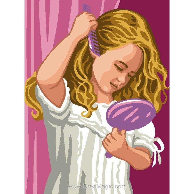 Canevas petite fille au miroir 6106 0084 de royal paris for Fille au miroir