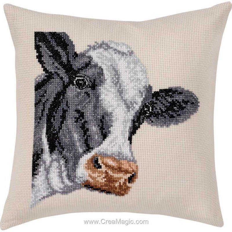 kit coussin broder au point de croix cow la vache permin. Black Bedroom Furniture Sets. Home Design Ideas