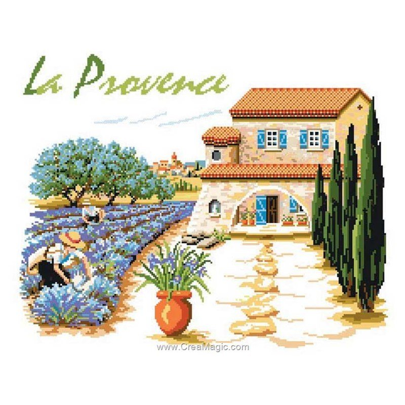 Kit broderie maison de provence de luc cr ation pc6 15 for Maison du canevas point de croix