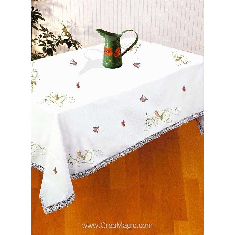 nappe imprim e en broderie traditionnelle les papillons d 39 avila. Black Bedroom Furniture Sets. Home Design Ideas