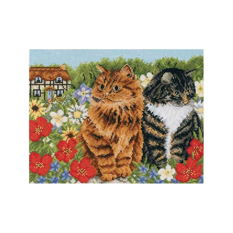 broderie deux chats dans les fleurs de dmc bk668. Black Bedroom Furniture Sets. Home Design Ideas