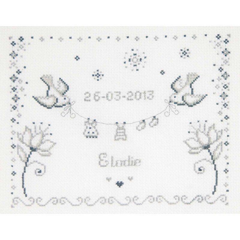 Tableau de naissance broder colombes et fleurs de dmc bk1258 - Tableau de naissance point de croix gratuit ...