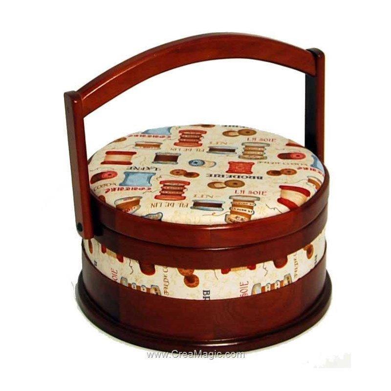 Boite couture ronde en bois et tissu couture prestige for Boite couture tissu