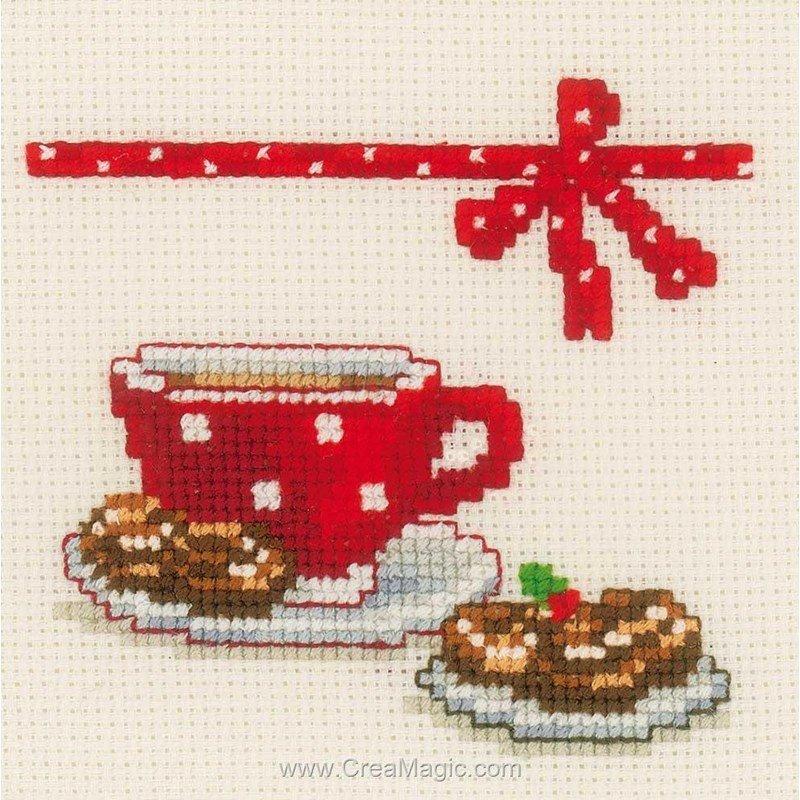 Kit tableau vervaco point de croix caf et g teaux lot de 3 - Point de croix cuisine ...