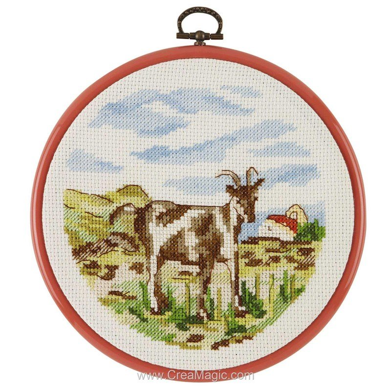 Point de croix Royal Paris la chèvre dans son pré